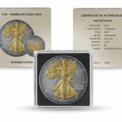 2019 American Silver Eagle 1oz Silver Coin - Antique Gold Edition 5