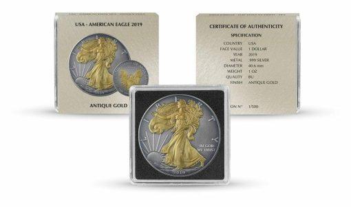 2019 American Silver Eagle 1oz Silver Coin - Antique Gold Edition 3