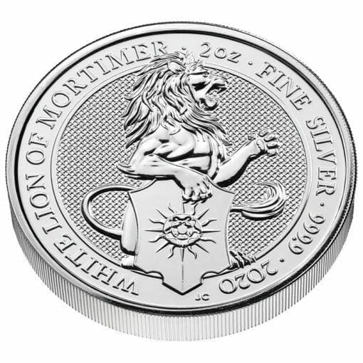 2020 The Queen's Beasts - The White Lion of Mortimer 2oz .9999 Silver Bullion Coin 2