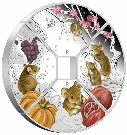 2020 Year of the Mouse Quadrant 1oz .9999 Silver Proof Four Coin Set 4