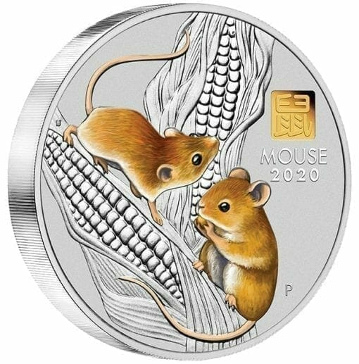 2020 Year of the Mouse 1 Kilo Silver Coin with Gold Privy Mark - Lunar Series III 3