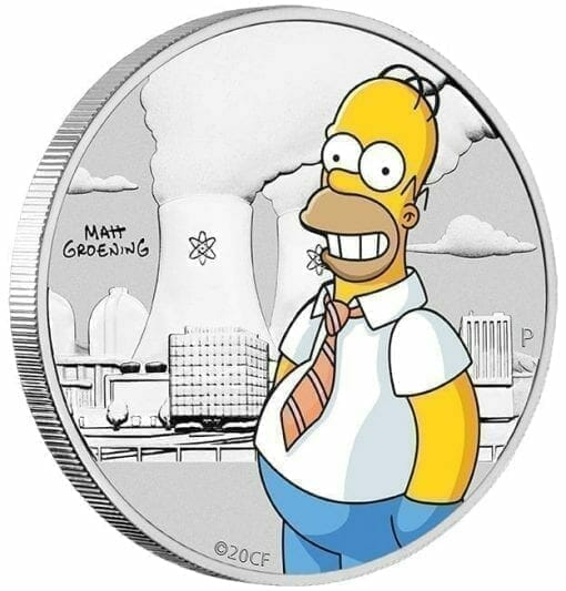 2020 The Simpsons - Homer Simpson Coloured 1/2oz Silver Coin in Black Card 4
