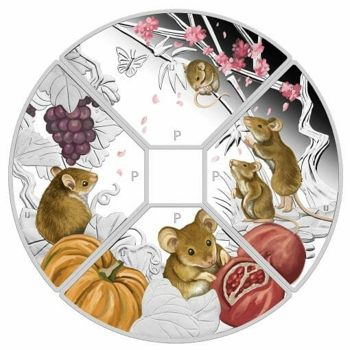 2020 Year of the Mouse Quadrant 1oz .9999 Silver Proof Four Coin Set 3