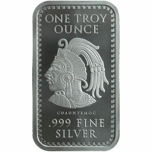 Aztec Calendar 1oz .999 Silver Minted Bullion Bar 2