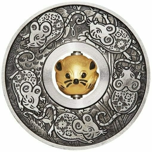 2020 Year of the Mouse Rotating Charm 1oz .9999 Silver Proof Antiqued Coin 1