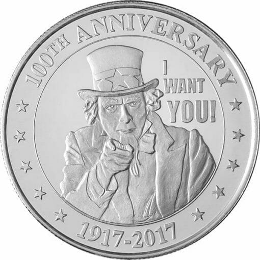 """Uncle Sam """"I Want You!"""" 1oz .999 Silver Round 1"""