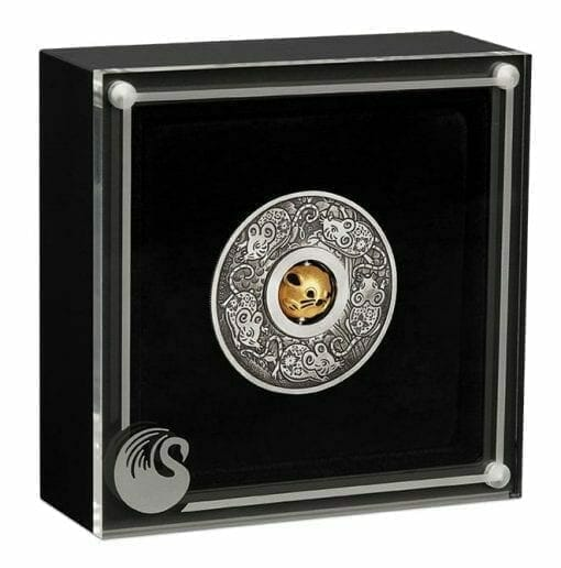 2020 Year of the Mouse Rotating Charm 1oz .9999 Silver Proof Antiqued Coin 5