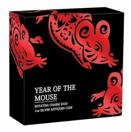 2020 Year of the Mouse Rotating Charm 1oz .9999 Silver Proof Antiqued Coin 6