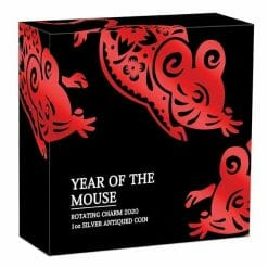 2020 Year of the Mouse Rotating Charm 1oz .9999 Silver Proof Antiqued Coin 11