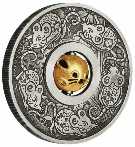2020 Year of the Mouse Rotating Charm 1oz .9999 Silver Proof Antiqued Coin 2