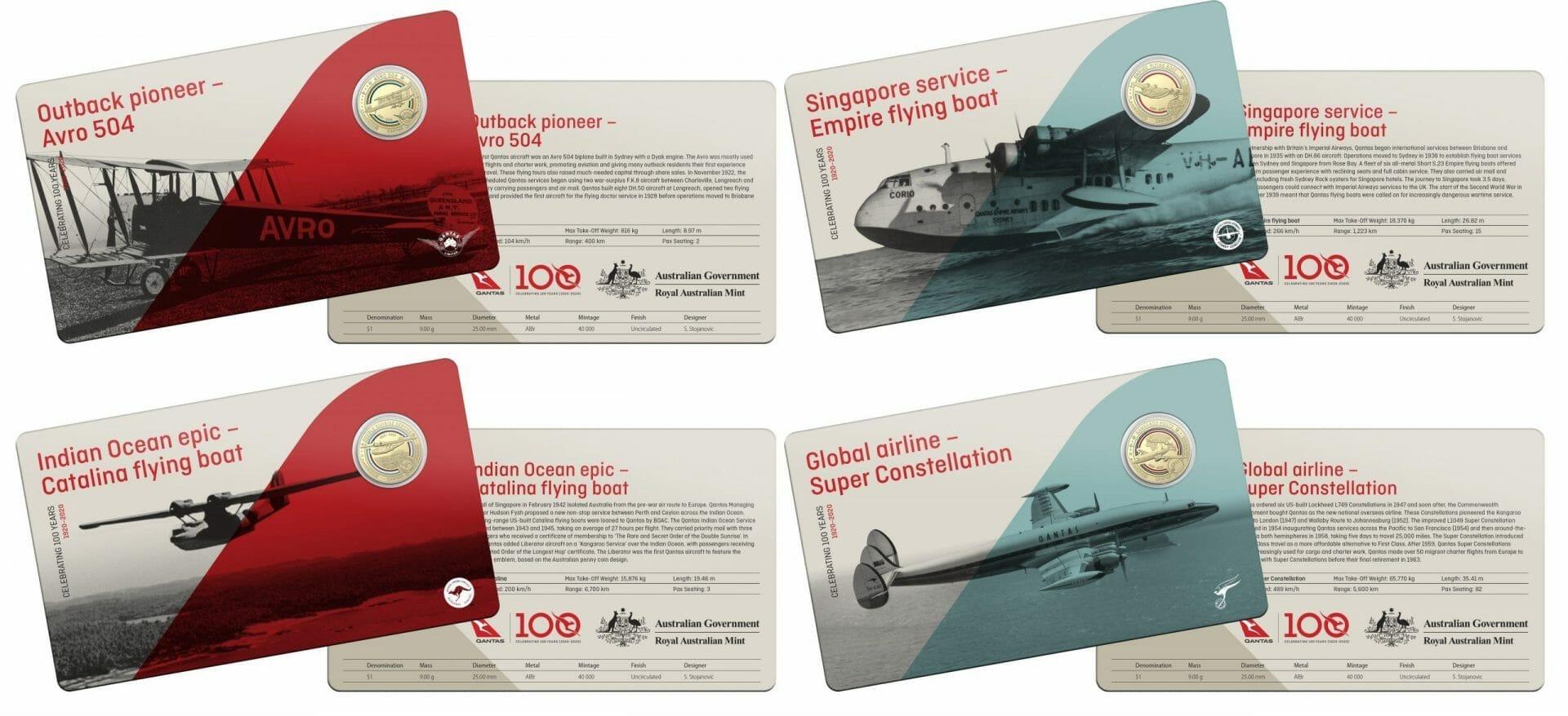 2020 Qantas Centenary 11 $1 Coloured Coin Uncirculated Set 3