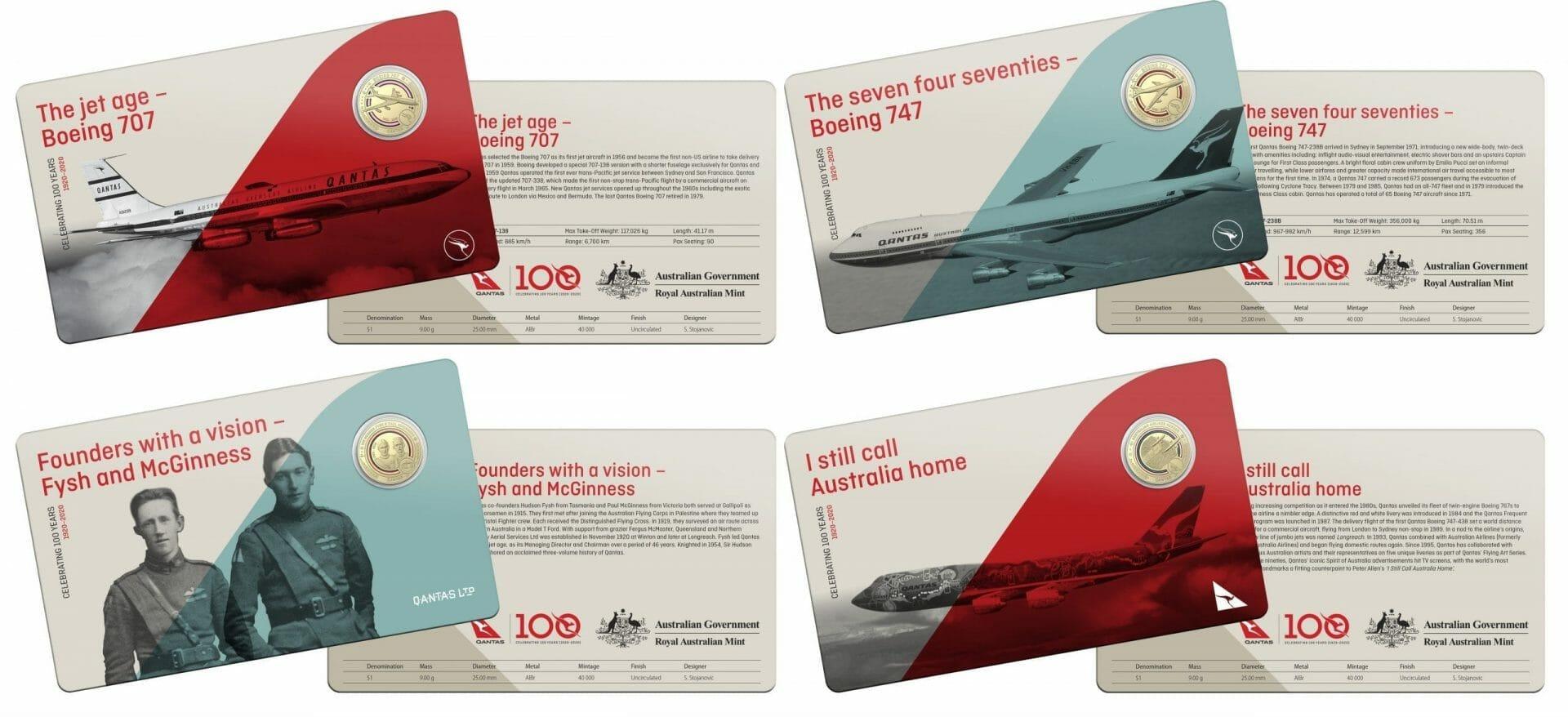 2020 Qantas Centenary 11 $1 Coloured Coin Uncirculated Set 5