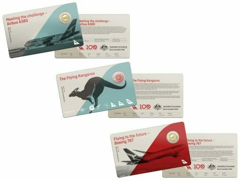 2020 Qantas Centenary 11 $1 Coloured Coin Uncirculated Set 7