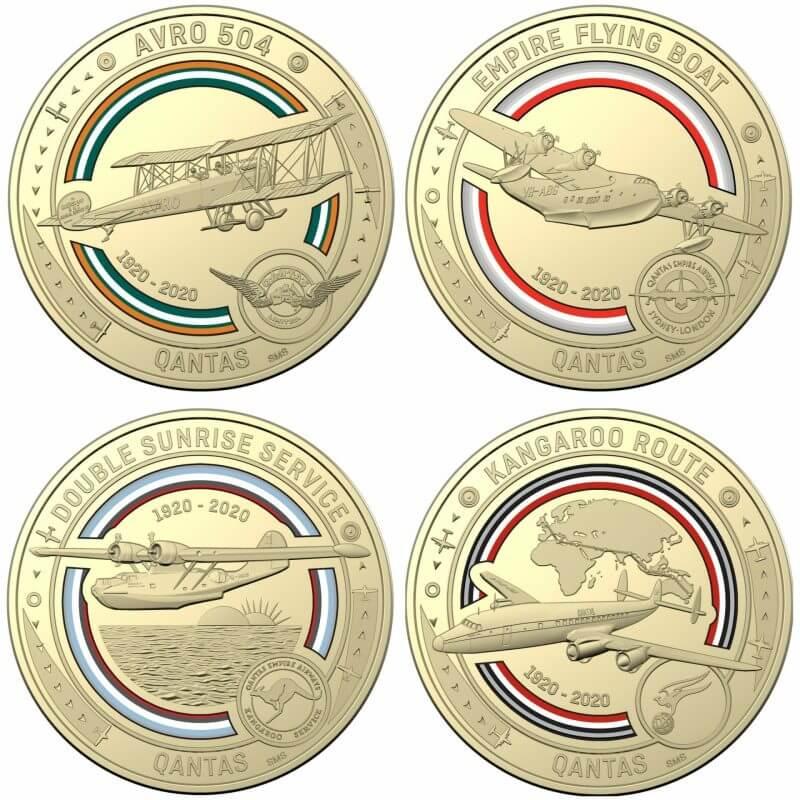 2020 Qantas Centenary 11 $1 Coloured Coin Uncirculated Set 11