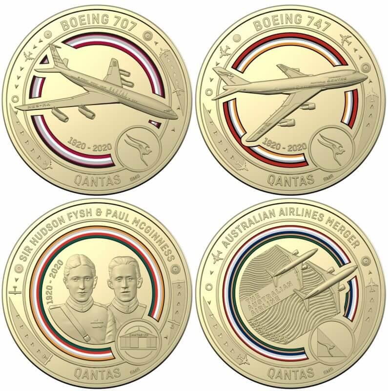 2020 Qantas Centenary 11 $1 Coloured Coin Uncirculated Set 4