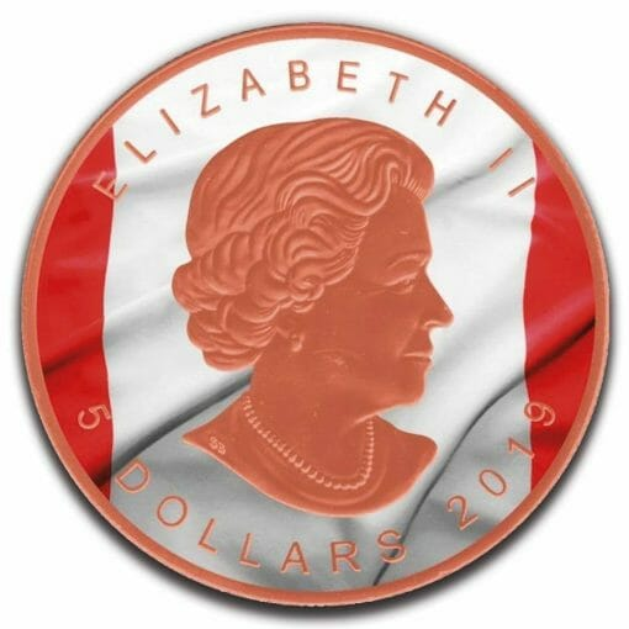 2019 Canadian Flag Maple Leaf 1oz .9999 Rose Gold Gilded Silver Coin 2