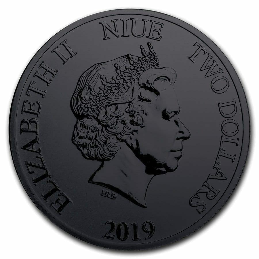 2019 Hawksbill Burning Turtle 1oz .999 Ruthenium Gilded Silver Coin 2