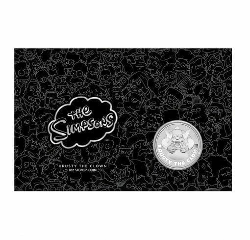 2020 The Simpsons - Krusty The Clown 1oz .9999 Silver Coin in Black Card 1