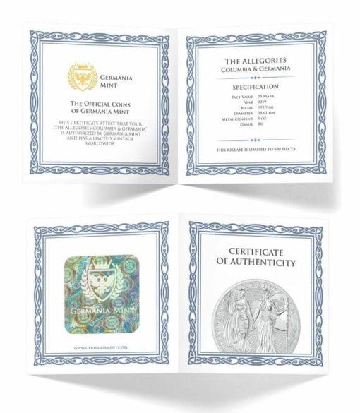2019 The Allegories - Columbia & Germania 5oz .9999 Silver Coin 4