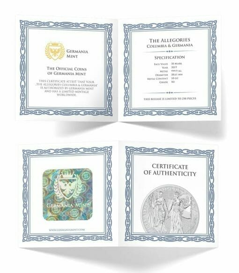 2019 The Allegories - Columbia & Germania 10oz .9999 Silver Coin 3