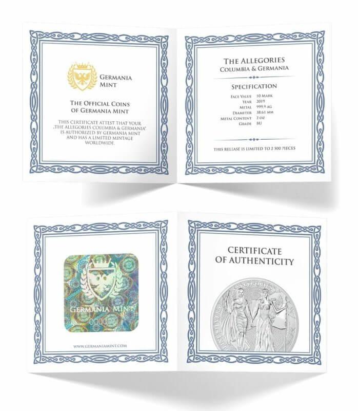 2019 The Allegories - Columbia & Germania 2oz .9999 Silver Coin 4