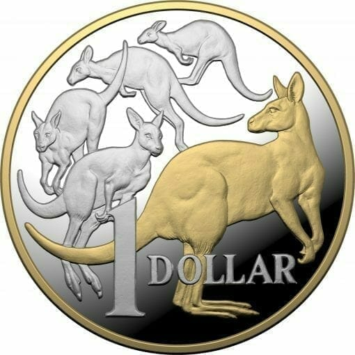 2020 $1 Mob of Roos - Selectively Gold Plated 5oz Silver Proof Coin 1