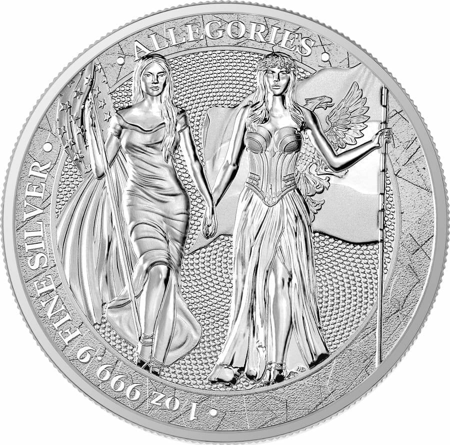 2019 The Allegories - Columbia & Germania 1oz .9999 Silver Bullion Coin 1