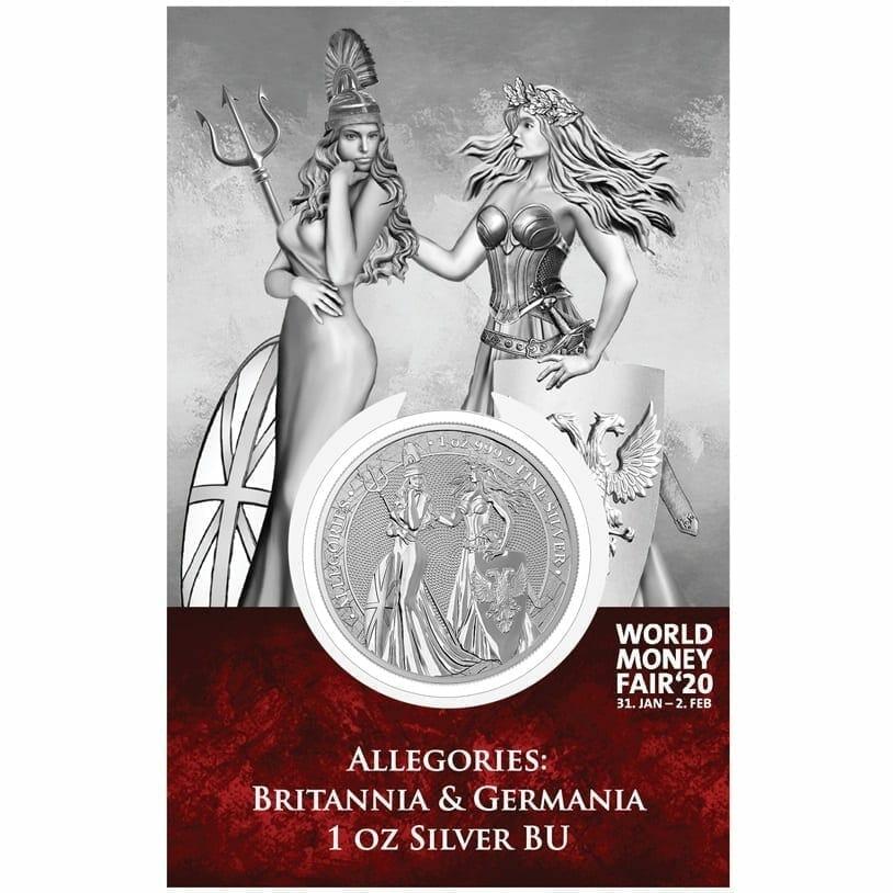 2019 The Allegories - Britannia & Germania 1oz .9999 Silver Coin - World Money Fair Exclusive 1