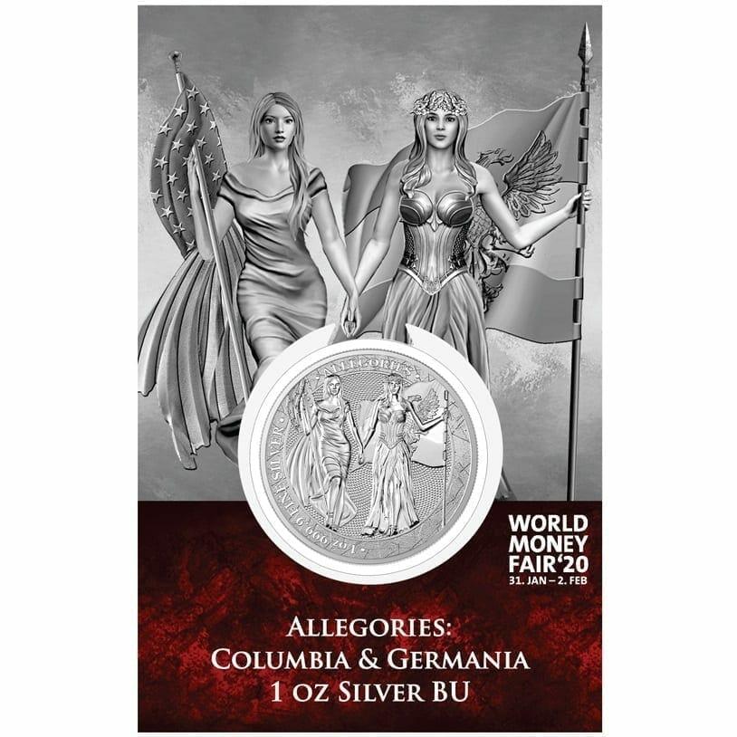 2019 The Allegories - Columbia & Germania 1oz .9999 Silver Coin - World Money Fair Exclusive 1