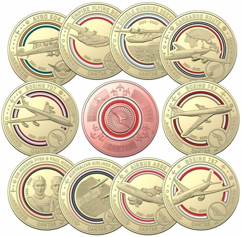 2020 Qantas Centenary 11 $1 Coloured Coin Uncirculated Set 1
