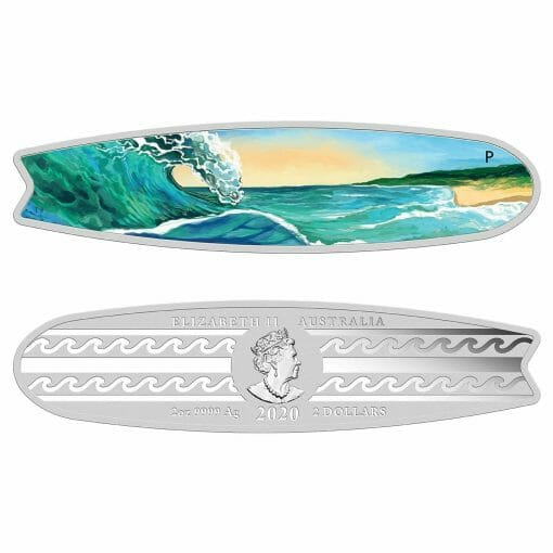 2020 Surfboard 2oz .9999 Coloured Silver Proof Coin 1