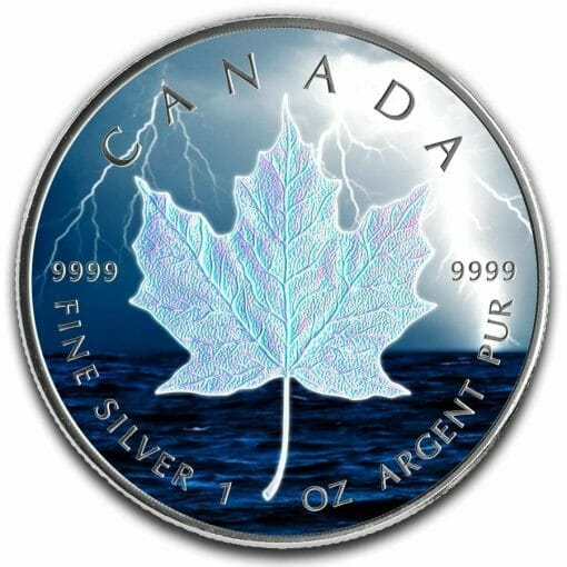 2019 Storm Bolt Maple Leaf 1oz .9999 Holographic Silver Coin 1