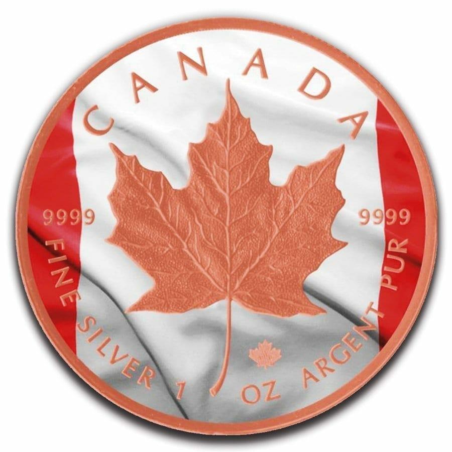 2019 Canadian Flag Maple Leaf 1oz .9999 Rose Gold Gilded Silver Coin 1