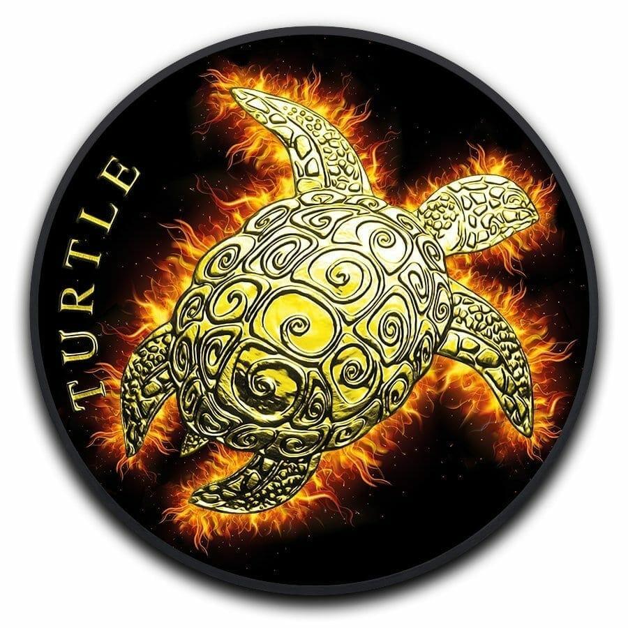 2019 Hawksbill Burning Turtle 1oz .999 Ruthenium Gilded Silver Coin 1