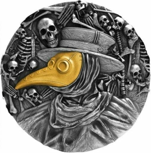 2019 Plague Doctor Mask 2oz .999 Gilded High Relief Antiqued Silver Coin 1