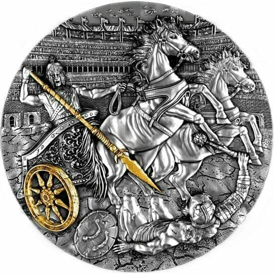 2019 Chariot 2oz .999 Gilded Ultra High Relief Antiqued Silver Coin 1