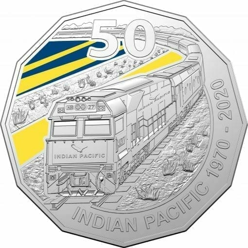 2020 50th Anniversary of the Indian Pacific - 50c Coloured Uncirculated Coin 1