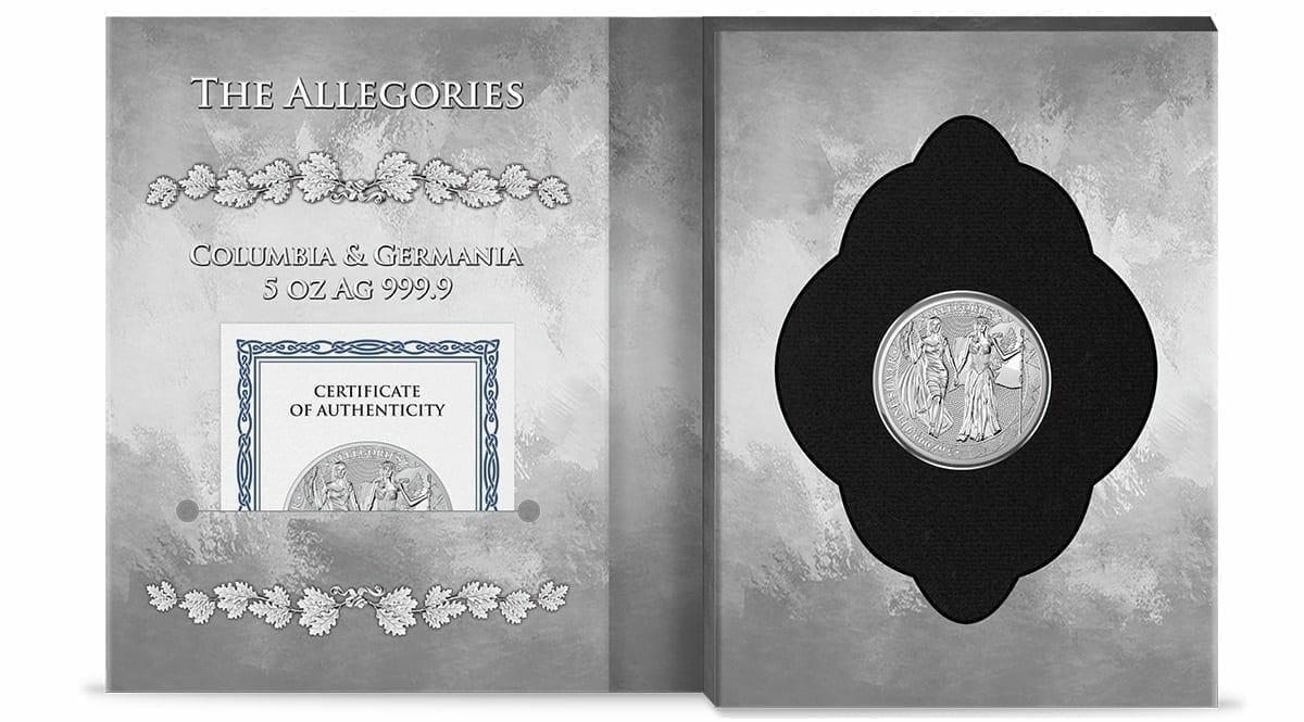 2019 The Allegories - Columbia & Germania 5oz .9999 Silver Coin 3