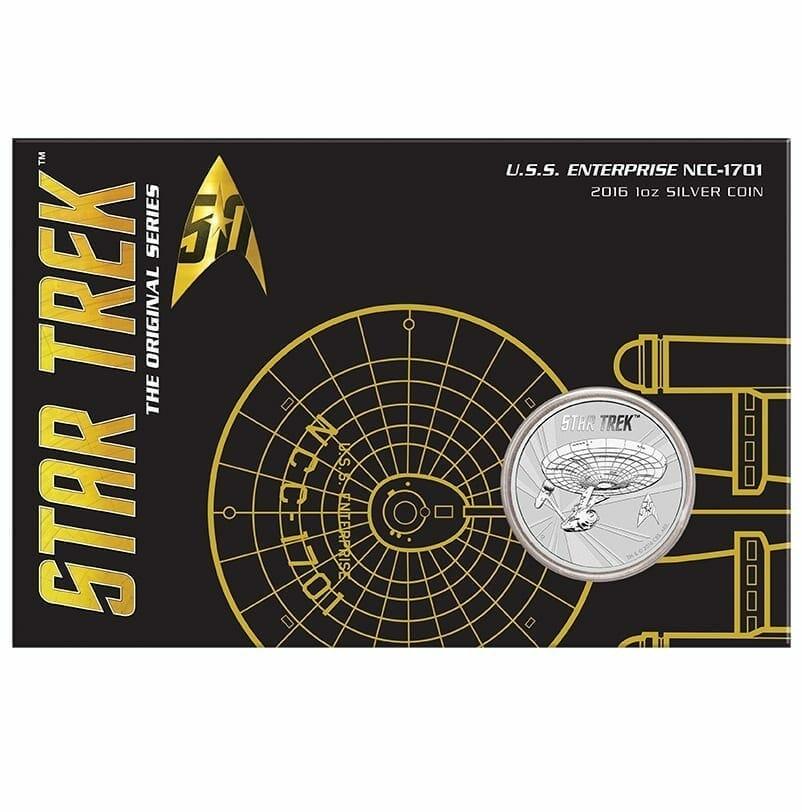2016 Star Trek USS Enterprise NCC-1701 1oz .999 Silver Coin in Card 1