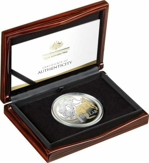 2020 $1 Mob of Roos - Selectively Gold Plated 5oz Silver Proof Coin 3
