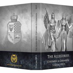 2019 The Allegories - Columbia & Germania 5oz .9999 Silver Coin 10