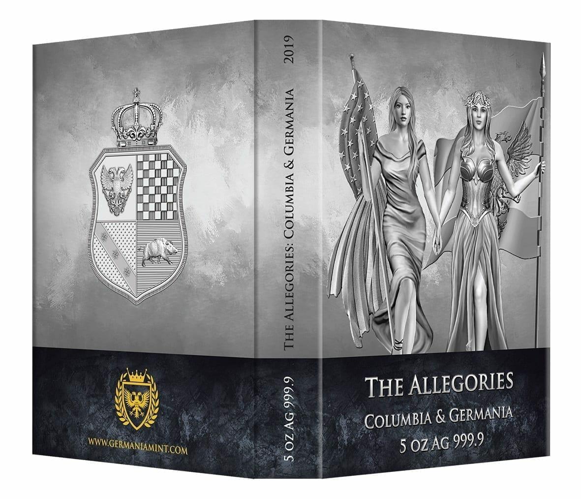 2019 The Allegories - Columbia & Germania 5oz .9999 Silver Coin 5
