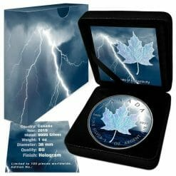 2019 Storm Bolt Maple Leaf 1oz .9999 Holographic Silver Coin 5