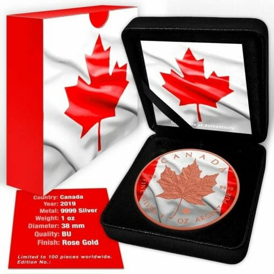 2019 Canadian Flag Maple Leaf 1oz .9999 Rose Gold Gilded Silver Coin 3