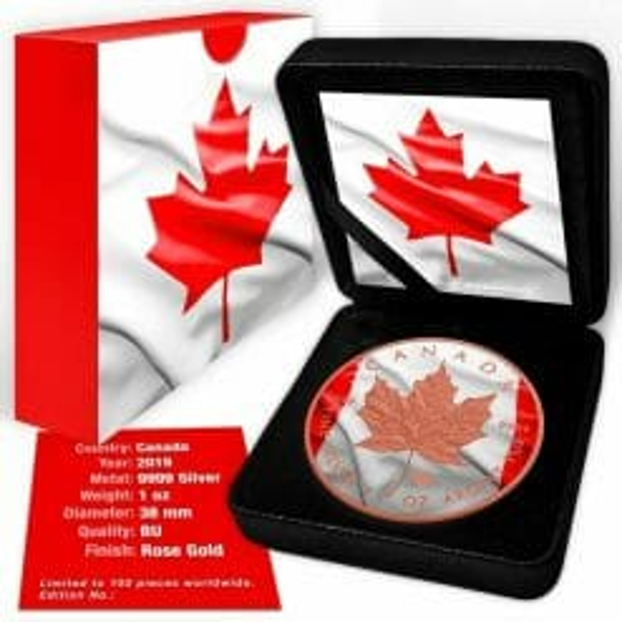 2019 Canadian Flag Maple Leaf 1oz .9999 Rose Gold Gilded Silver Coin 5