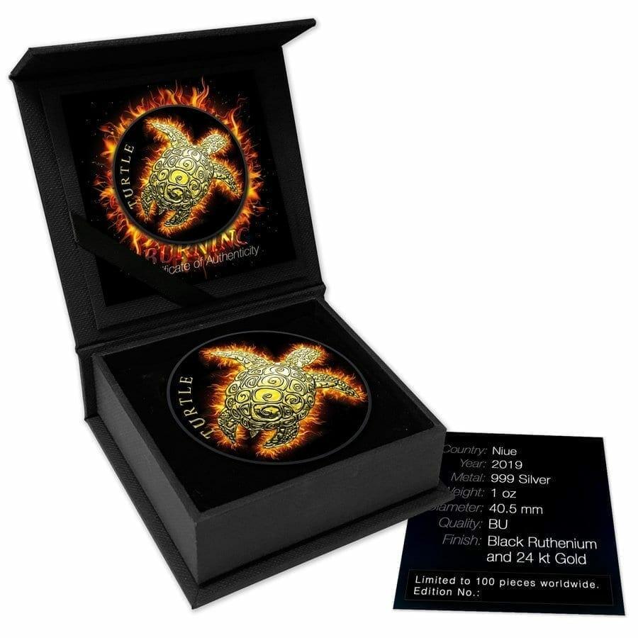 2019 Hawksbill Burning Turtle 1oz .999 Ruthenium Gilded Silver Coin 3