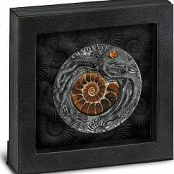 2019 Ammonite Fossil Amber 2oz .999 High Relief Antiqued Silver Coin 7