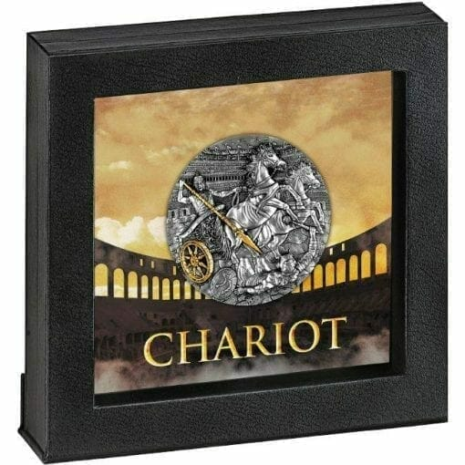 2019 Chariot 2oz .999 Gilded Ultra High Relief Antiqued Silver Coin 4