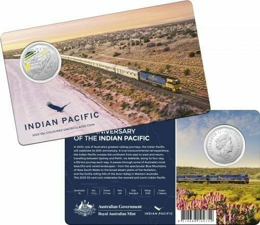 2020 50th Anniversary of the Indian Pacific - 50c Coloured Uncirculated Coin 2