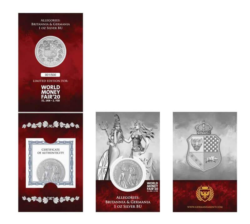 2019 The Allegories - Britannia & Germania 1oz .9999 Silver Coin - World Money Fair Exclusive 3